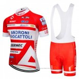 2018 Maillot Cyclisme Androni Giocattoli Orange et Blanc Manches Courtes et Cuissard