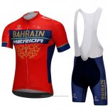 2018 Maillot Cyclisme Bahrain Merida Rouge Manches Courtes et Cuissard