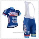 2018 Maillot Cyclisme Wanty Bleu Manches Courtes Cuissard