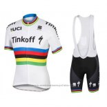 2016 Maillot Cyclisme UCI Monde Champion Tinkoff Blanc Manches Courtes et Cuissard
