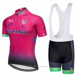 2018 Maillot Cyclisme Astana Rose Manches Courtes et Cuissard