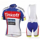 2018 Maillot Cyclisme Tinkoff Saxo Bank Rouge Bleu Manches Courtes et Cuissard