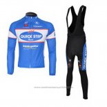 2010 Maillot Cyclisme Quick Step Floor Azur Manches Longues et Cuissard