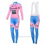 2015 Maillot Cyclisme Femme Saxo Bank Fuchsia Manches Longues et Cuissard