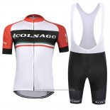 2019 Maillot Cyclisme Colnago Blanc Rouge Manches Courtes et Cuissard