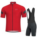 2017 Maillot Cyclisme Gore Bike Wear Power Rouge Manches Courtes et Cuissard