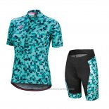 2018 Maillot Cyclisme Femme Specialized Vert Manches Courtes et Cuissard