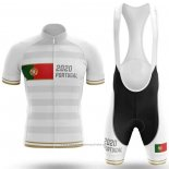 2020 Maillot Cyclisme Champion Portugal Blanc Manches Courtes et Cuissard