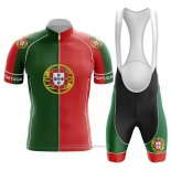 2020 Maillot Cyclisme Champion Portugal Vert Rouge Manches Courtes et Cuissard