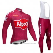 2019 Maillot Cyclisme Katusha Alpecin Rouge Manches Longues et Cuissard