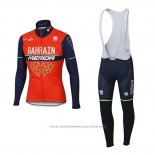 2017 Maillot Cyclisme Bahrain Merida Rouge Manches Longues et Cuissard