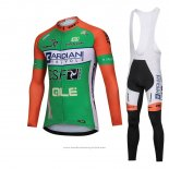 2018 Maillot Cyclisme Bardiani Csf Vert Manches Longues et Cuissard