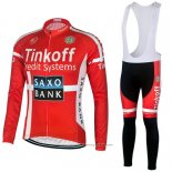 2018 Maillot Cyclisme Tinkoff Saxo Bank Rouge Noir Manches Longues et Cuissard