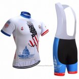 2018 Maillot Cyclisme USA Blanc Manches Courtes et Cuissard