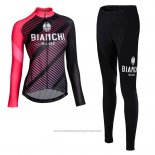 Maillot Cyclisme Femme Bianchi Milano Catria Noir Rose Manches Longues et Cuissard