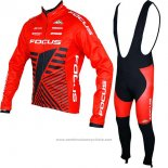 2017 Maillot Cyclisme Focus XC Ml Rouge Manches Longues et Cuissard
