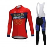 2018 Maillot Cyclisme Bahrain Merida Rouge Manches Longues et Cuissard