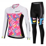 2019 Maillot Cyclisme Femme Mieyco Blanc Rose Manches Longues et Cuissard