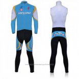 2011 Maillot Cyclisme Astana Azur Manches Longues et Cuissard