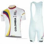 2017 Maillot Cyclisme Colombia Blanc Manches Courtes et Cuissard