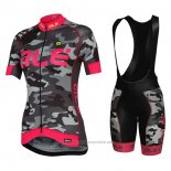 2017 Maillot Cyclisme Femme ALE Camouflage Rose Manches Courtes et Cuissard