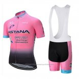 2018 Maillot Cyclisme Astana Lumiere Rose Manches Courtes et Cuissard