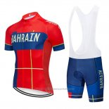 2019 Maillot Cyclisme Bahrain Merida Rouge Manches Courtes et Cuissard