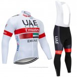 2019 Maillot Cyclisme UCI Monde Champion Uae Blanc Rouge Manches Longues et Cuissard
