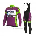 2020 Maillot Cyclisme Bardiani Csf Violet Blanc Manches Longues et Cuissard