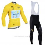 2014 Maillot Cyclisme Astana Lider Jaune Manches Longues et Cuissard