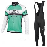 2017 Maillot Cyclisme Bianchi Milano Ml Vert Manches Longues et Cuissard