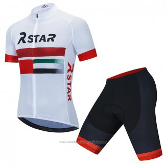 2021 Maillot Cyclisme R Star Blanc Rouge Manches Courtes et Cuissard