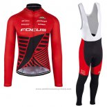 2017 Maillot Cyclisme Focus XC Ml Profond Rouge Manches Longues et Cuissard