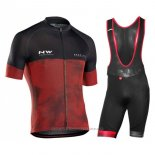 2018 Maillot Cyclisme Northwave Noir Rouge Manches Courtes Cuissard