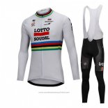 2018 Maillot Cyclisme UCI Monde Champion Lotto Soudal Blanc Manches Longues et Cuissard