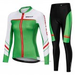 2019 Maillot Cyclisme Femme Mieyco Blanc Vert Manches Longues et Cuissard