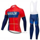 2019 Maillot Cyclisme Bahrain Merida Rouge Manches Longues et Cuissard