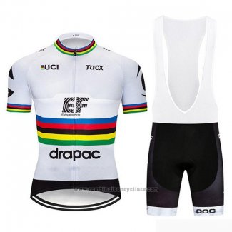2019 Maillot Cyclisme UCI Monde Champion EF Education First Blanc Manches Courtes et Cuissard