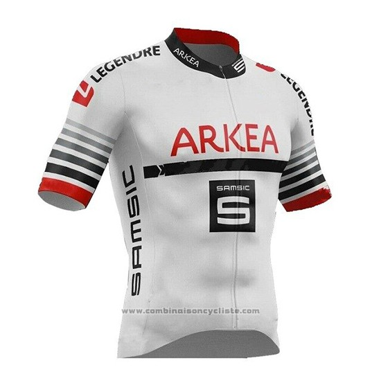 2019 Maillot Cyclisme Arkea Samsic Blanc Rouge Manches Courtes et Cuissard