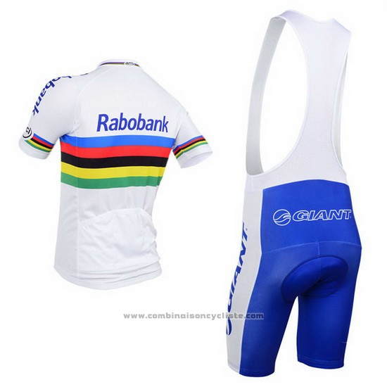 2013 Maillot Cyclisme UCI Monde Champion Lider Rabobank Blanc Manches Courtes et Cuissard